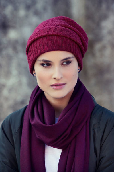 MILLE V - Knitted Hat - Dark Red